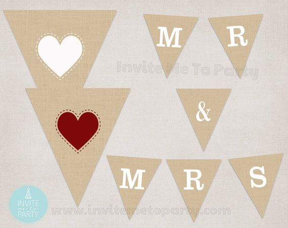 Mr & Mrs Burlap Bunting  Wedding Banner by InviteMe2Party on Etsy