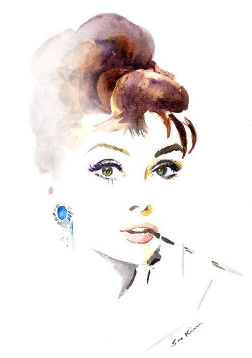 beautiful water color of audrey as holly golightly!