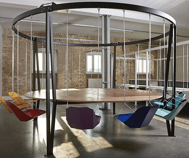 Swinging Chairs Round Table Business Meeting Conference