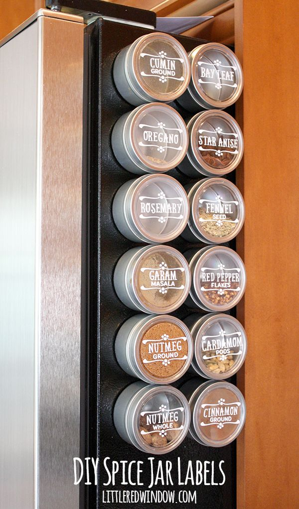 DIY Spice Jar Labels | littleredwindow.com | Make your own custom labels quickly and easily with vinyl & your Silhouette!