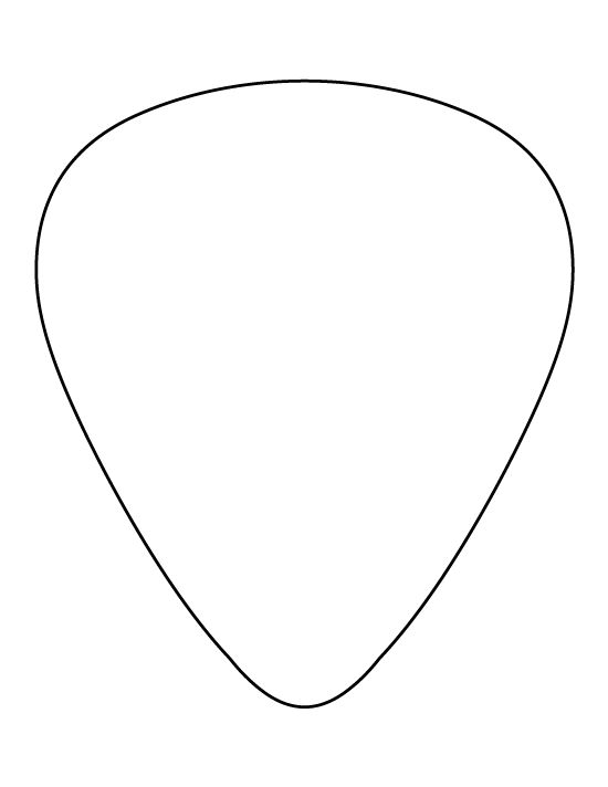 Guitar pick pattern. Use the printable outline for crafts, creating stencils, scrapbooking, and more. Free PDF template to download and print at http://patternuniverse.com/download/guitar-pick-pattern/
