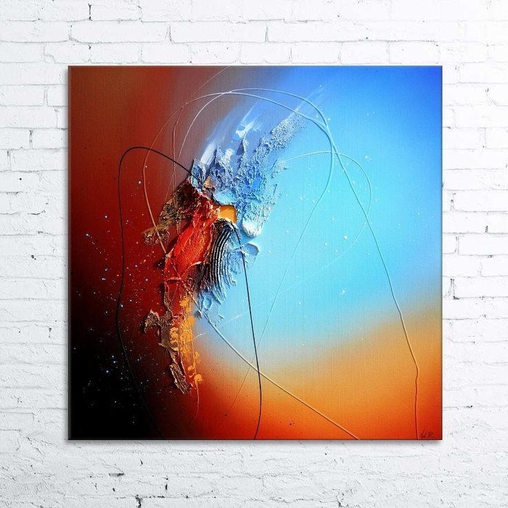 utopia tableau abstrait moderne contemporain peinture acrylique en relief marron bleu noir rouge orange blanc - Tableaux Abstraits Colors