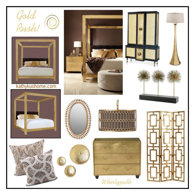 Gold Rush! by whirlypath on Polyvore featuring interior, interiors, interior design, home, home decor, interior decorating, Astoria, WALL and bedroom