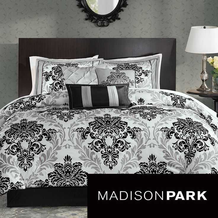 For a more contemporary look, the Madison Park Larissa Collection is perfect for the home. A grey damask print is printed on polyester and paired with black damask flocking for a three-dimensional look to the comforter and shams.