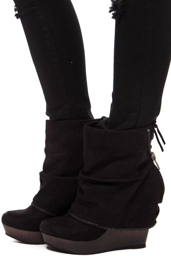 Lime Lush Boutique - Black Suede Zipper Overlay Wedge Bootie, $79.99 (http://www.limelush.com/black-suede-zipper-overlay-wedge-bootie/)