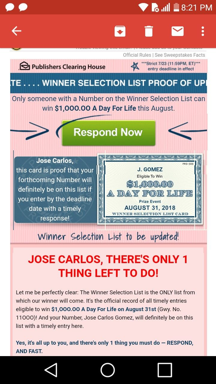 Pch i jcg claim WINNER SELECTION PROOF OF UPDATE NOTICE! TO WIN