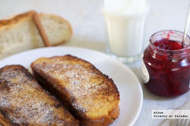 Receta de tostadas francesas. Fotos del paso a paso, los ingredientes y la presentación. Trucos y consejos de elaboración. Recetas de San Valent�...