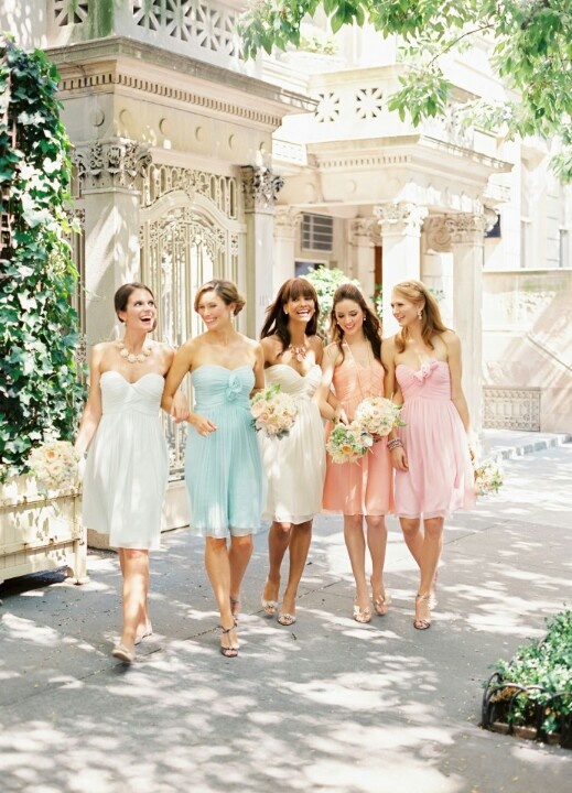 Pretty color pallet. Those are the exactly colors and material and style I want for the bridesmaids...except floor length:)