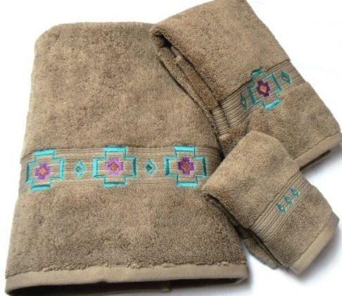 Chimayo Southwest Embroidered Linen 3 Pc Bath Towel Set southwestern bath