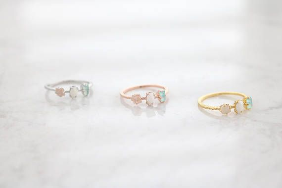 3 Natural Stone Ring, Moon Stone Ring, Dainty, Delicate, Rose Stone Ring, rings for women, For Her, Gift for Girlfriend, Pink Stone Ring