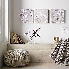 Graham & Brown - Love Bird Beige 3 Piece Glitter Branch Printed Canvas Wall Art Set
