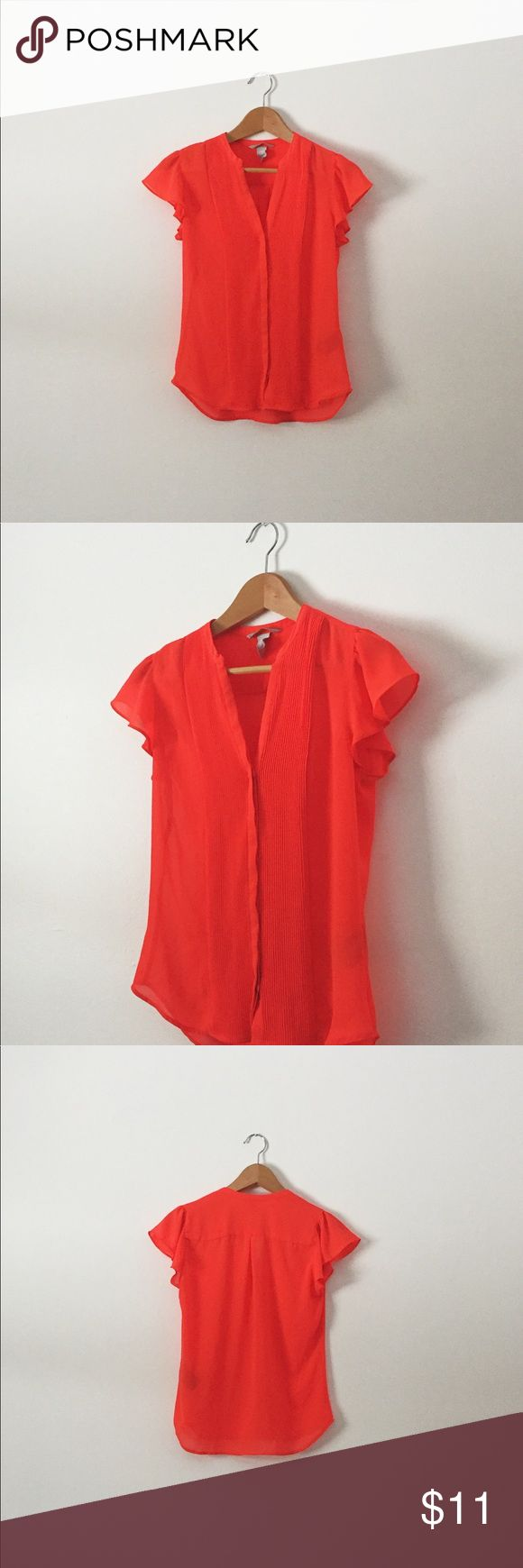 Bright Coral Blouse Comfortable and airy dress shirt in a pretty coral color. H&M Tops Blouses