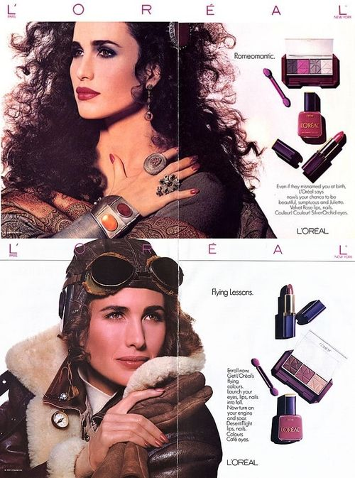 L'Oreal, early 80s  Model : Andie MacDowell