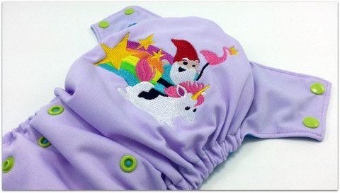 Gnome & his Unicorn Embroidered, One Size Pocket Diaper – Ella Bella Bum