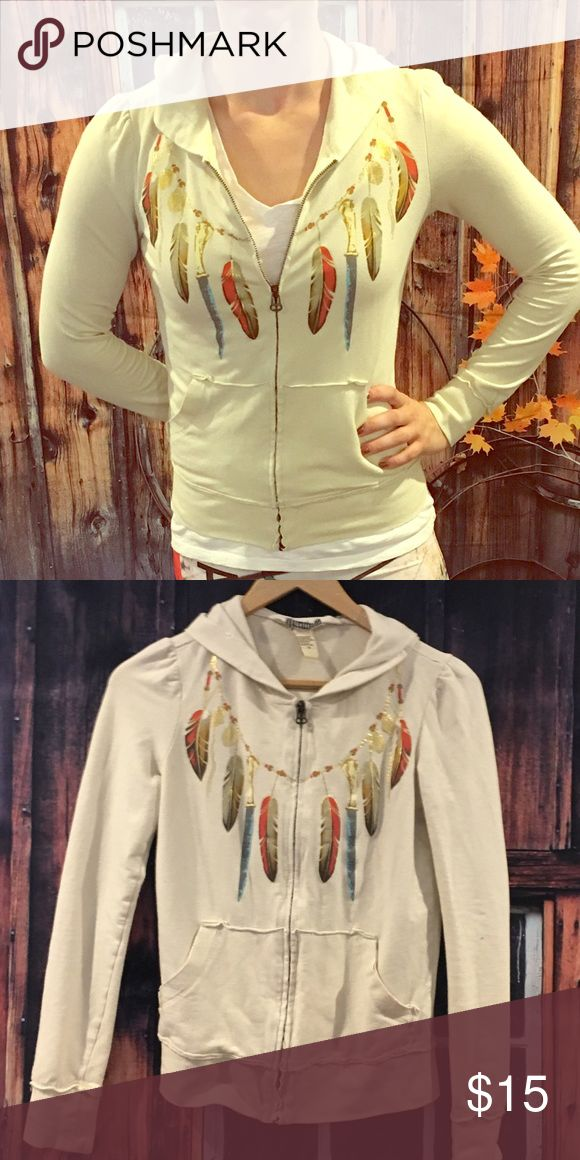 Feathered zip up hoodie Cream zip up with feather detail. Forever 21 Tops Sweatshirts & Hoodies