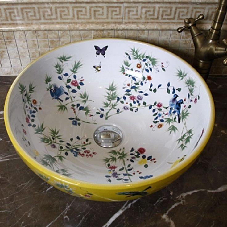 Cheap wash basin, Buy Quality porcelain wash basin directly from China ceramic bathroom sinks Suppliers: Porcelain China Classic Painting Art Birds&Flowers White Countertop Ceramic Bathroom Sink chinese porcelain wash basin