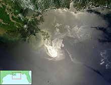 Photo - Gulf oil slick seen from space - Approximately 50% of the oil from the Deepwater Horizon oil spill  'has been found' on the floor of the Gulf - An estimated 84million of 172million barrels has left an oil slick on the bottom of the Gulf like filth in a bathtub.. say proceedings gleaned from sediment tests published in the National Academy of Sciences: http://www.pnas.org/content/early/2014/10/23/1414873111.full.pdf+html