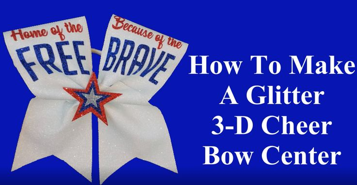 Learn how to make a patriotic theme glitter cheer bow with a 3-D glitter bow center.