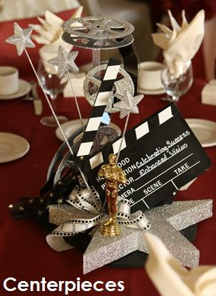 Centerpieces – Decorate your tables with one of our popular Hollywood centerpieces! Brand your event on clapboards or select an elegant floral centerpiece intertwined in a film strip. Our Hollywood centerpieces are always a favorite. Visit our website for more information on Hollywood centerpieces.
