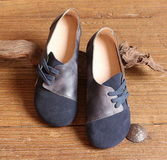Handmade Women ShoesDark Blue Oxford Shoes Flat Shoes by HerHis