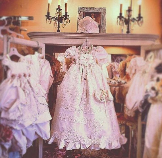 Our Venetian Christening Gown is one of a kind made of fine silk. It can be made any size, and color. We can make it white or ivory, if you have