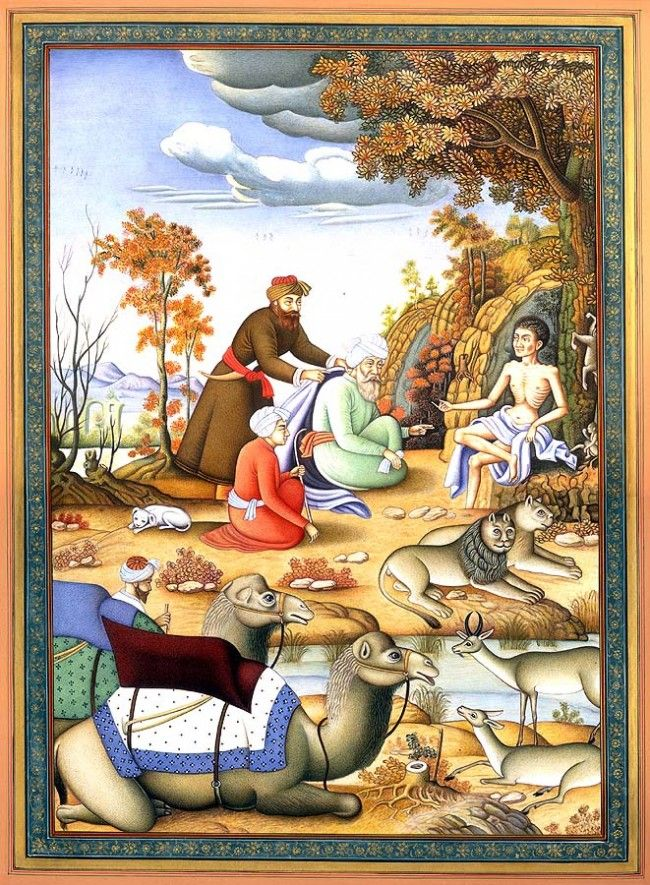 Laila's messenger meets Majnun in the forest . A persian tale