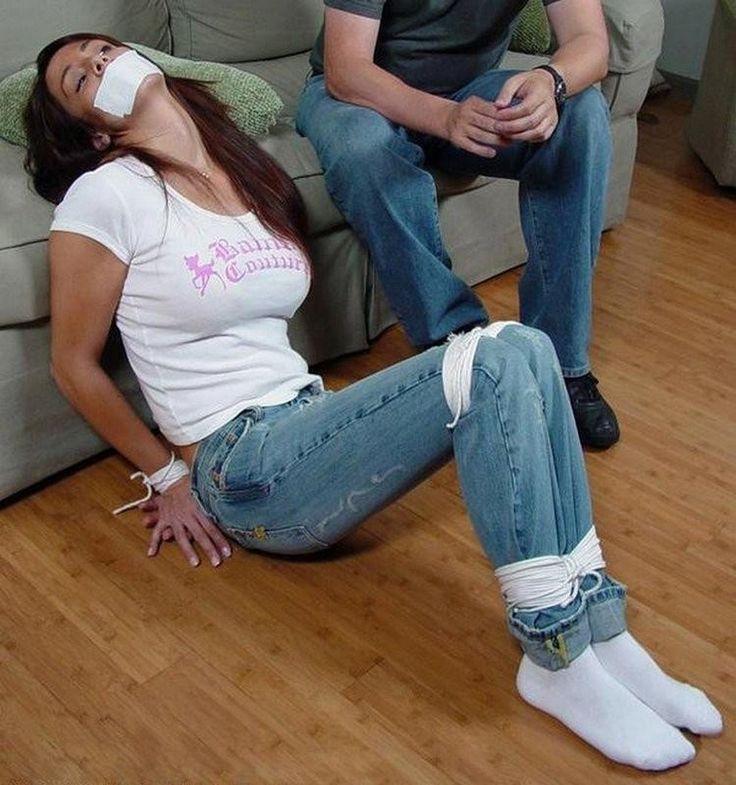Girls tied up in socks