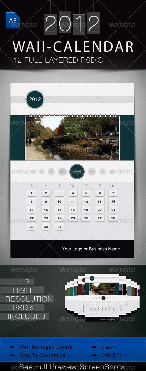 Wall Calendar 2012  #GraphicRiver         Hi   This pack include 12 Psd's .   Size = A3.   Resolution = 300 Dpi.   Very Well Managed Layers in their respective groups.   Only Arial font is used.   Have fun     Created: 6October11 GraphicsFilesIncluded: PhotoshopPSD #PhotoshopPSD Layered: Yes MinimumAdobeCSVersion: CS4 PrintDimensions: 11.69x16.53 Tags: calendar #circle #clean #gray #print #promotional #wallcalendar