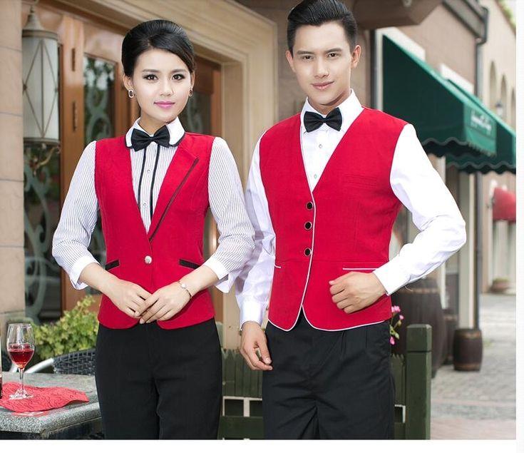 Restaurant waitress uniforms Man&Woman Hotel uniform free shipping