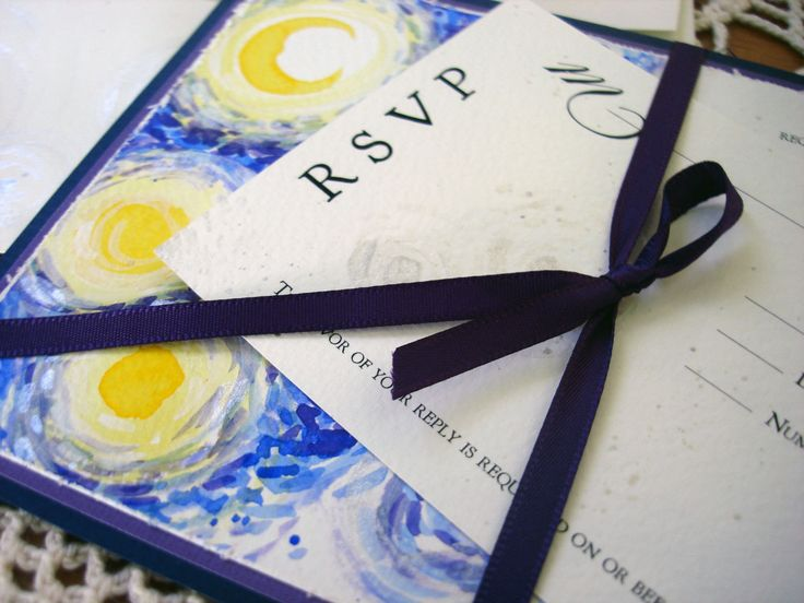 Starry Night Wedding Invitations Van Gogh watercolor hand painted custom by everafterpapery on Etsy https://www.etsy.com/listing/78195159/starry-night-wedding-invitations-van