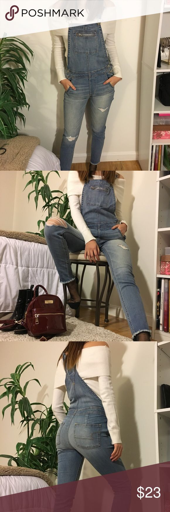 Distressed overalls Light wash skinny jean overalls from American eagle. Stretchy jean material so they're super comfortable! Size xxs but they fit me really well, I typically wear a size small. Brand new condition American Eagle Outfitters Jeans Overalls