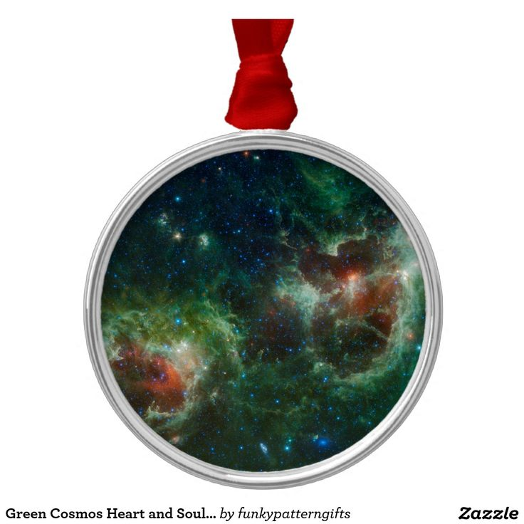 Green Cosmos Heart and Soul Nebula Maffei 1 and 2 Silver-Colored Round Decoration