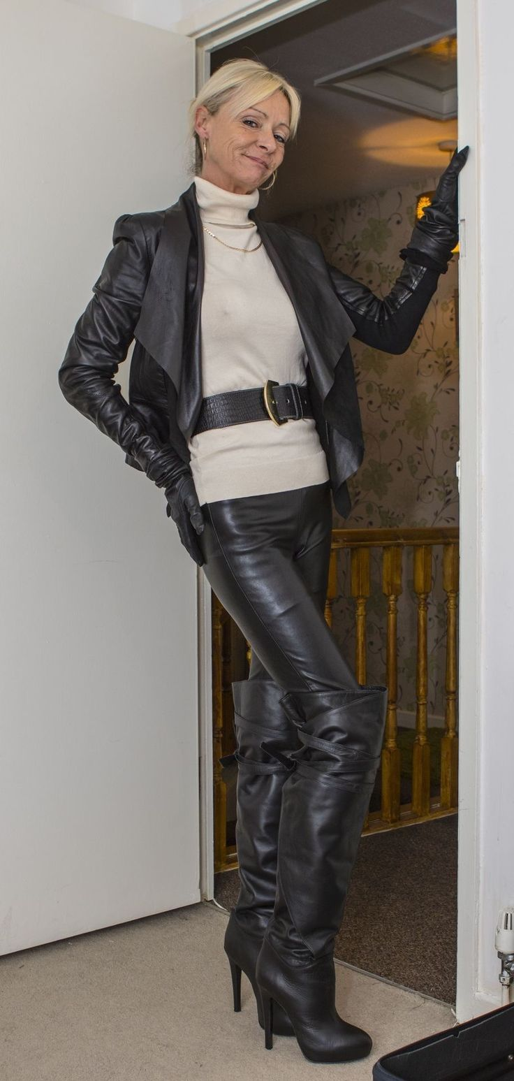 Mature woman in leather