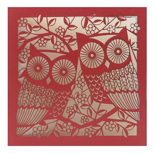 blossom owls red laser-cut card