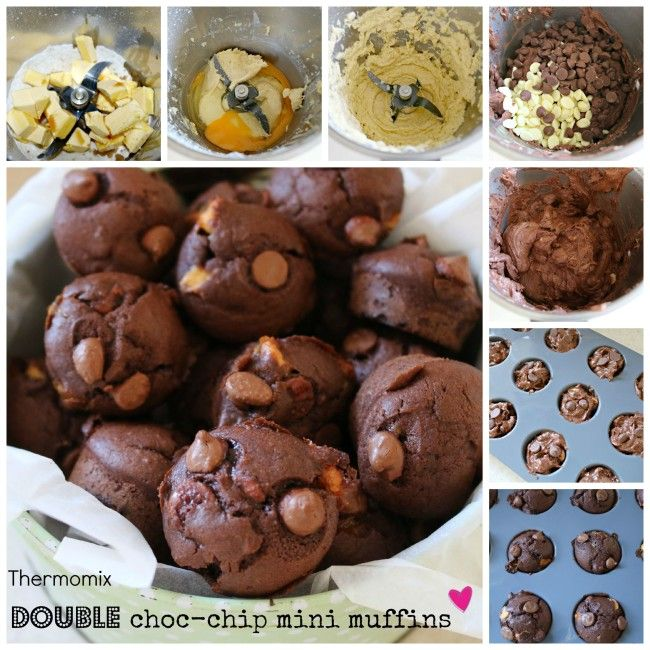 Mrs D plus 3 | Thermomix double choc chip mini lunch box muffins | http://www.mrsdplus3.com