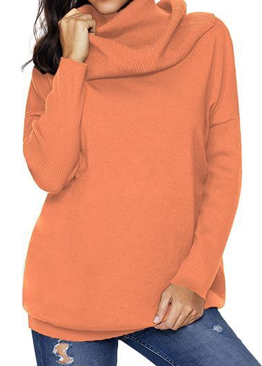 High Neck Long Sleeve Orange Sweater on sale only US 42.33 now 0ae3ab0f3