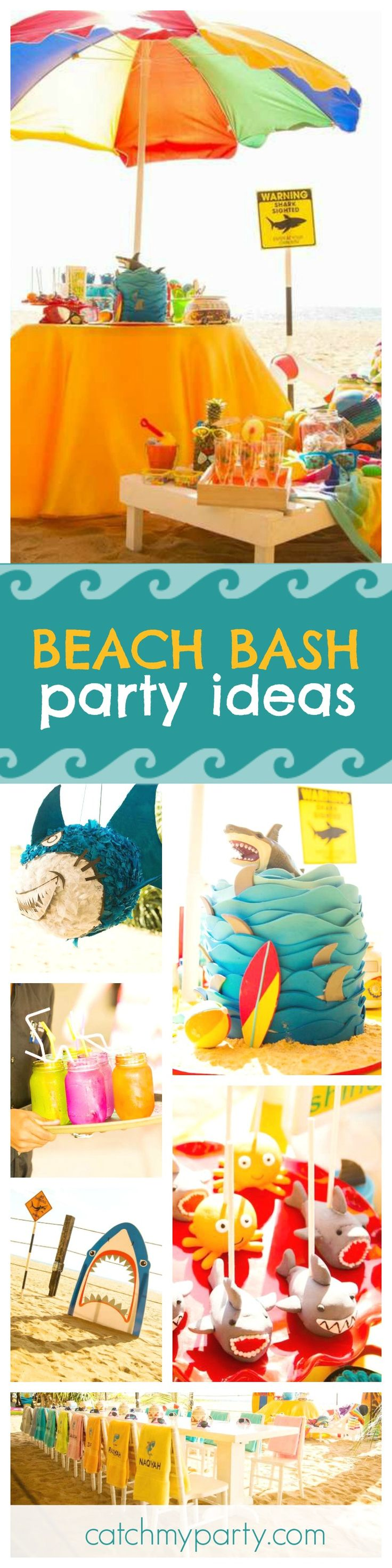 Check out this awesome Sharked themed Beach Bash! The shark & octopus cake pops are so cool!! See more party ideas and share yours at CatchMyParty.com