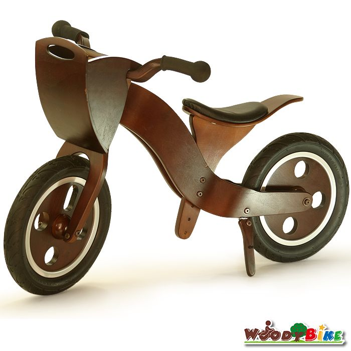 【ウッディバイク】キッズ用の誕生日プレゼントにも最適♪木製品天然木子ども用バランスバイクWOODYBIKE(色:ウォールナット)アップハンドルのかご付きkids向け自転車★