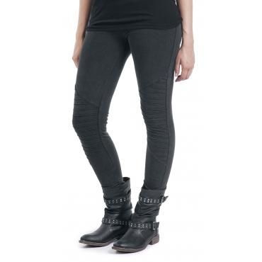 - washed-out look - elastic waistband - tight fit  The Ladies Biker Knee Leggings of Black Premium by EMP makes you a real biker girl. The washed-out, black leggings with interesting details in the knee area is a perfect combination with biker boots or leather jacket. Consisting of 95% cotton and 5% elastane, the pants cling to your body without any annoying squeezing and pinching.. These leggings will turn a bicycle into a Harley!