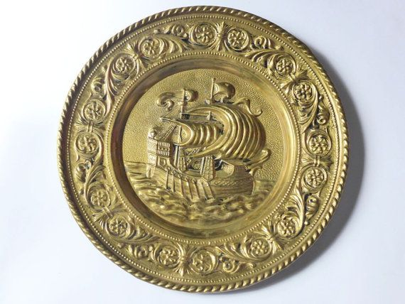 Vintage Brass Ship Wall Plate  Hammered Brass Plaque by EdenKitsch