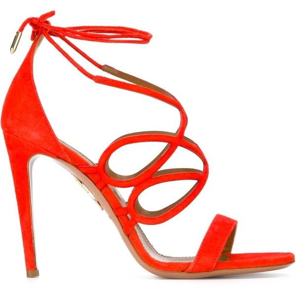 Aquazzura Gigi Sandals (2.158.930 COP) ❤ liked on Polyvore featuring shoes, sandals, red, red sandals, suede shoes, aquazzura, red suede sandals and red shoes