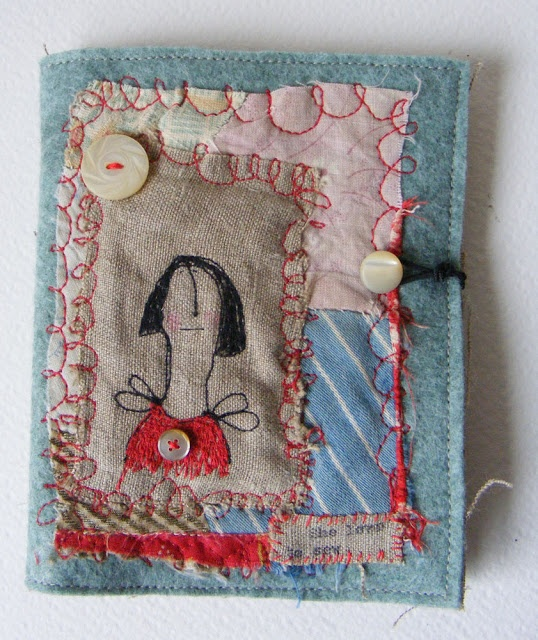 free machine embroidery ::: Hens teeth-   book? with button closure