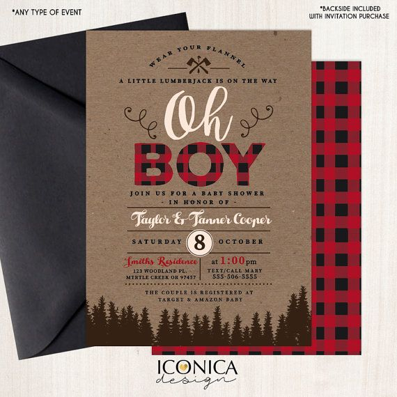LumberJack Baby Shower Invitation Plaid Wilderness Camping Invitation Holiday card Christmas card - Printed or Printable File Free Shipping