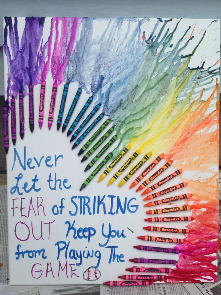 "CRAYON ART- I have always wanted to make a crayon art design! I'm so excited with how this turned out!! ☺️ I got the design from here. I used Rose Art crayons for my design. They melted fairly quickly.   I incorporated my favorite quote ""Never Let the Fear of Striking Out Keep You from Playing the Game."""