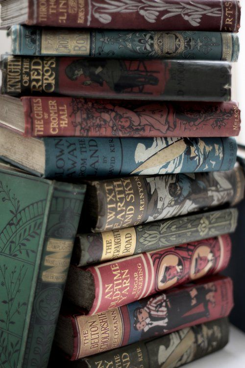 Late 19th, early 20th Century publisher's pictorial cloth bindings. From Michael Moon's Bookshop in Cumbria.