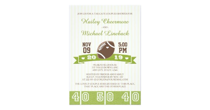The bride and groom to be who loves to watch or play football will love these cute and sporty tailgate football couples shower invitations with a football field 50 yard line and subtle cream and white striped background, football and banner with a jersey number font. Brown and white polka heart pattern on back. Artwork © Chrissy H. Studios, LLC. All Rights Reserved.