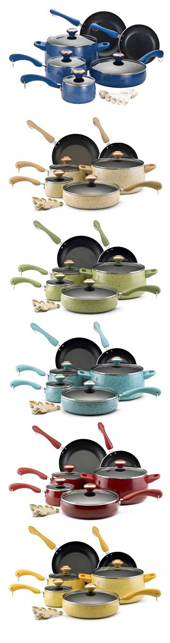 Cookware sets by Paula Deen! Love my black speckled set so much that I went out & bought the top color pictured (blueberry) for the new house we're building. Showing my support for Paula!!! :)