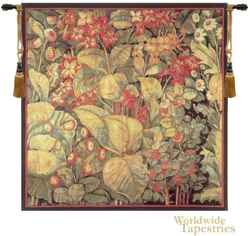 Aristoloches tapestry shows large leaves and birds obscured based on originals from the 16th century. The Aristolochia leaves were an item of decor fashion in the 16th century, and appeared in works woven in the Oudenarde, Frammont and Enghien region of Flanders.