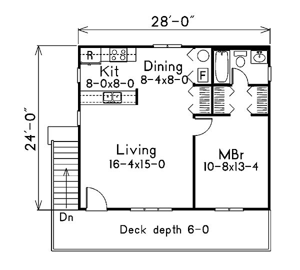 First Floor Plan of Cabin   House Plan 87885
