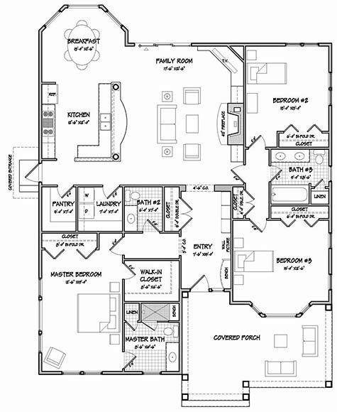 One story floor plan add garage with a workshop off the for House plans with separate kitchen
